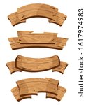 set of wooden banners with... | Shutterstock .eps vector #1617974983