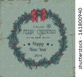 hand   drawn christmas wreath... | Shutterstock . vector #161800940