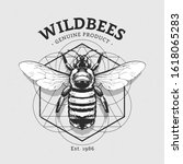 vintage bumblebee illustration... | Shutterstock .eps vector #1618065283