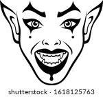 vampire woman face on a white... | Shutterstock .eps vector #1618125763
