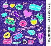 happy valentine s day stickers...   Shutterstock .eps vector #1618157326