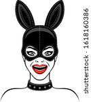 woman in bunny mask on a white... | Shutterstock .eps vector #1618160386