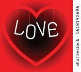 big red heart hanging messages... | Shutterstock .eps vector #1618192696