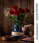 Arrangement Of Red Roses In A...