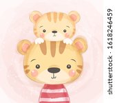 cute tiger illustration  baby... | Shutterstock .eps vector #1618246459