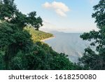 Small photo of Coastline of the Thailand Beach with mountains and soft sublime light