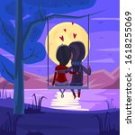 Two Lovers Sitting On A Swing...