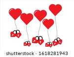 Red Heart Balloon With Couple...