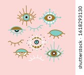 Evil Eye Pastel Vector Isolate...