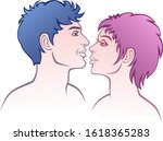 couple of lovers on a white... | Shutterstock .eps vector #1618365283