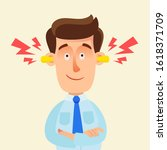 satisfied man put earplugs in... | Shutterstock .eps vector #1618371709