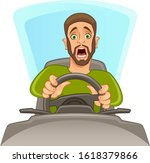 scared man driving a car on a... | Shutterstock .eps vector #1618379866