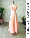 Peach vintage fashion long maxi ...