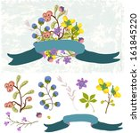 retro flowers  cute floral... | Shutterstock . vector #161845220