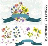 retro flowers  cute floral... | Shutterstock . vector #161845220