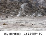 Small photo of Stefanos crater breathes. Volcano tn Greece with fume belch.