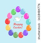 easter card with colorful... | Shutterstock .eps vector #1618484776