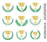 green realistic set of circular ... | Shutterstock .eps vector #1618560436