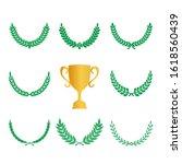 green realistic set of circular ... | Shutterstock .eps vector #1618560439