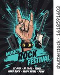 music rock festival with hand   Shutterstock .eps vector #1618591603