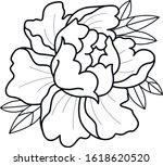 tattoo flash sketch peony japan ... | Shutterstock .eps vector #1618620520