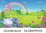 fairytale background with river ... | Shutterstock .eps vector #1618649410