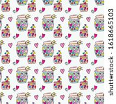 cute doodle pattern cans with... | Shutterstock .eps vector #1618665103