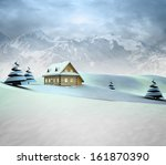 mountain landscape with cottage ... | Shutterstock . vector #161870390
