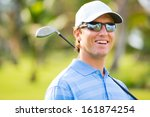 athletic young man playing golf ... | Shutterstock . vector #161874254