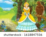 cartoon summer scene with bird... | Shutterstock . vector #1618847536