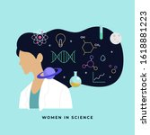 female scientist head with long ... | Shutterstock .eps vector #1618881223