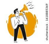 business man shouting through... | Shutterstock .eps vector #1618885369