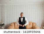 morning of the groom. groom... | Shutterstock . vector #1618935646