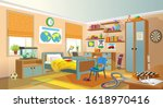 teenager room. interior with...   Shutterstock .eps vector #1618970416