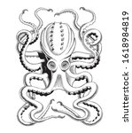 octopus or kraken hand drawing... | Shutterstock .eps vector #1618984819