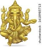 golden ganesha painting on a... | Shutterstock .eps vector #1618985713