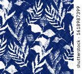 indigo cyanotype dyed effect...   Shutterstock .eps vector #1618987399