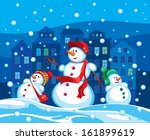 family of snowmen in the... | Shutterstock .eps vector #161899619