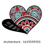 openwork heart for valentines... | Shutterstock .eps vector #1619039353