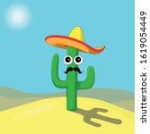 Cartoon Cactus With Sombrero...