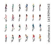 walking people crowd vector set | Shutterstock .eps vector #1619094343