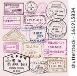 vector color passport stamps  ... | Shutterstock .eps vector #161915834