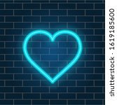 Neon Heart Is Blue. Retro...