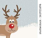 reindeer snowy background   Shutterstock .eps vector #161921696