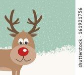 reindeer snowy background   Shutterstock .eps vector #161921756