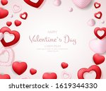 happy valentines day card with...   Shutterstock .eps vector #1619344330