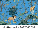 vintage chinoiserie fruit tree  ... | Shutterstock .eps vector #1619348260
