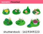isometric flower bed flat... | Shutterstock .eps vector #1619349223