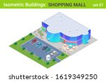 isometric shopping mall center... | Shutterstock .eps vector #1619349250