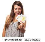 portrait of young woman showing ... | Shutterstock . vector #161940239